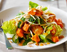 Red Papaya Salad with Pan Fried Haloumi