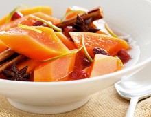 Spiced Poached Red Papaya Compote