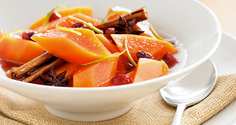 Spiced-Poached-Red-Papaya-Compote