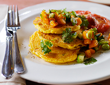 Yellow Papaw Salsa with Polenta Corn Cakes