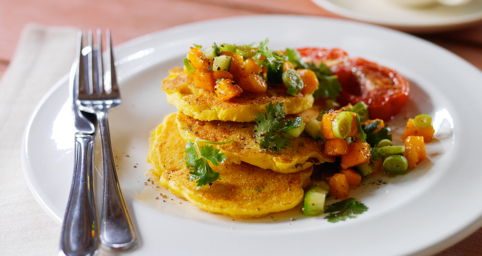 Yellow-Papaw-Salsa-with-Polenta-Corncake