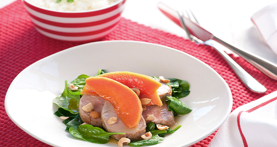Pork-Fillet-with-Buttered-Honeyed-Papaya