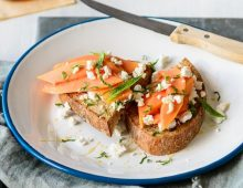 Papaya, Goat Cheese & Honey Toast
